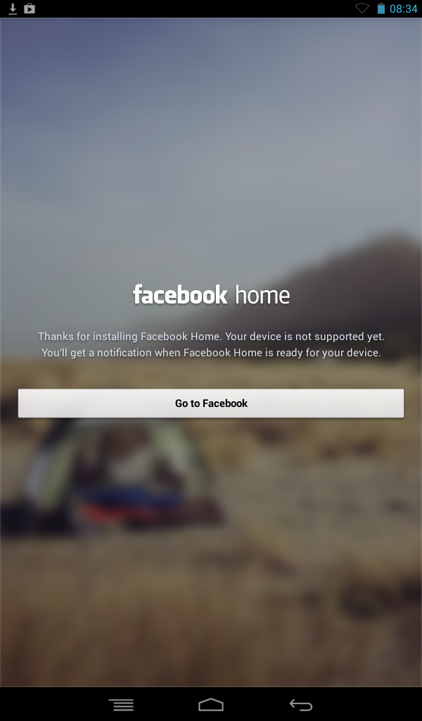 Facebook Home - No Go